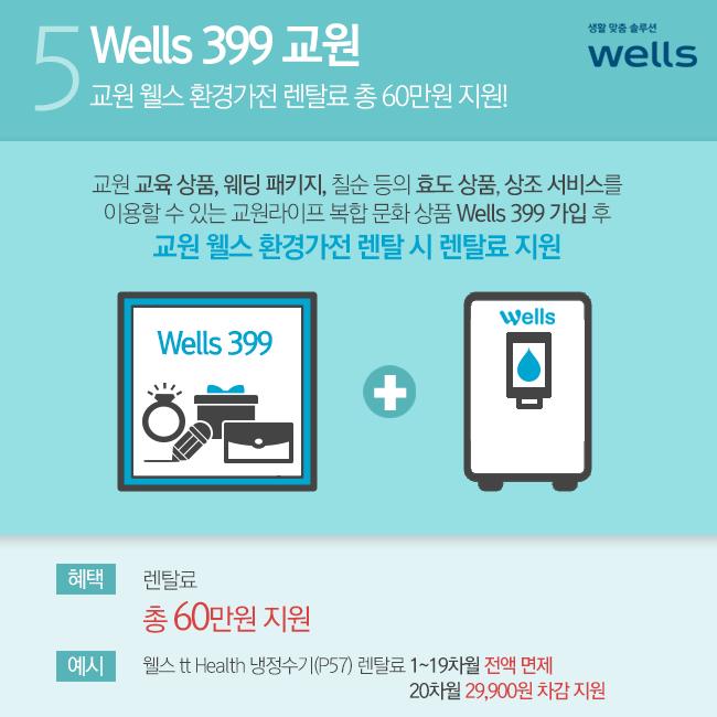웰스 399 교원 계약 시 렌탈료 총 60만원 지원